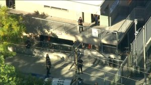 Police respond to a shooting at Sal Castro Middle School on Feb. 1, 2018. (Credit: KTLA)