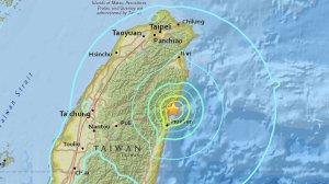 An earthquake struck off the coast of Taiwan on Feb. 6, 2018. (Credit: USGS)
