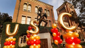 The statue of Tommy Trojan on the USC campus is seen in a file photo. (Credit: (Al Seib / Los Angeles Times)