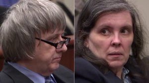David and Louise Turpin sit during a court appearance in Riverside on Feb. 23, 2018. (Credit: pool)