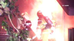 Crews battle a fire in Tustin on Feb. 6, 2018. (Credit: OC Hawk)