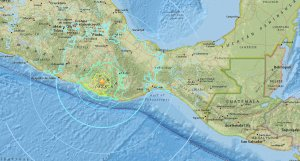 A USGS map shows an earthquake that struck southern Mexico on Feb. 16, 2018.