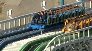 The couple tied the knot at the top of the thrilling roller coaster on Feb. 22, 2018. (Credit: KTLA)