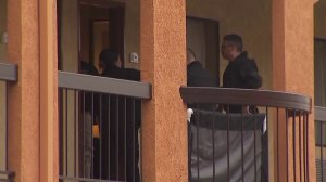 A woman's body was found in a second-floor room of a Quality Inn in Westminster, and homicide detectives were at the scene on Feb. 6, 2018. (Credit: KTLA)
