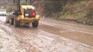 State Route 27 was covered in mud after a slide on March 2, 2018. (Credit: KTLA)