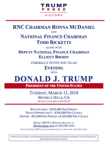 An invitation to a Republican National Committee fundraiser in Beverly Hills on March 12, 2018 lists Donald Trump as a guest. (Credit: Los Angeles Times)