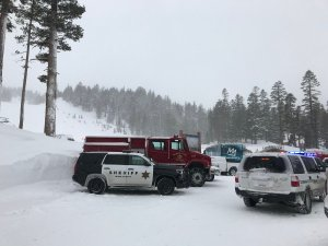 Officers are seen at Mammoth Mountain after an avalanche prompted officials to close the area on March 3, 2018. (Credit: Melissa Pamer/KTLA)
