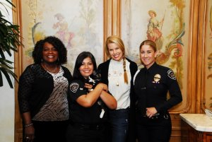 From left: Mayor Acquanetta Warren, Animal Services Officer Jenny Fisher, Beth Stern and Officer Jennie Venzor are seen in a photo released by the Fontana Police Department on March 14, 2018.