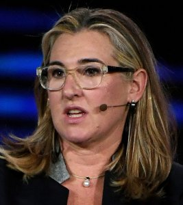 A+E Networks President and CEO Nancy Dubuc participates in a keynote panel on the future of video at CES 2018 at Park Theater at Monte Carlo Resort and Casino in Las Vegas, on Jan. 10, 2018. (Credit: Ethan Miller/Getty Images)
