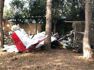 A plane is seen after it crash landed near Santa Paula in a photo released by the Ventura County Fire Department on March 31, 2018.