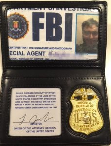 A fake FBI badge used to try to sneak into a L.A. County jail is seen in a photo provided by the Sheriff's Department.