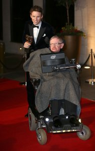 Eddie Redmayne and Stephen Hawking attend the after party for the EE British Academy Film Awards at The Grosvenor House Hotel on Feb. 8, 2015 in London, England. (Credit: Tim P. Whitby/Getty Images)