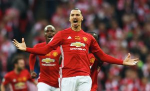 Zlatan Ibrahimovic of Manchester United celebrates as he scores their first goal during the EFL Cup Final match between Manchester United and Southampton at Wembley Stadium on February 26, 2017 in London. (Credit: Michael Steele/Getty Images)