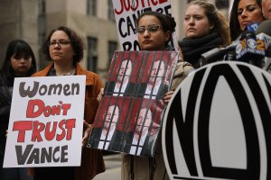 Members of the National Organization for Women (NOW) hold a news conference and demonstration outside of Manhattan Criminal Court where Cyrus R. Vance Jr., the Manhattan district attorney, has his office on Oct. 13, 2017 in New York City. (Credit: Spencer Platt/Getty Images)