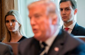 President Trump speaks alongside his daughter, Ivanka Trump, and her husband, Senior White House Adviser Jared Kushner, during a cabinet meeting at the White House on Oct. 16, 2017. (Credit: SAUL LOEB/AFP/Getty Images)