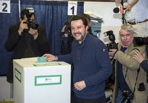 Leader of Lega Nord party Matteo Salvini votes in the  Italian general election at a polling station on March 4, 2018 in Milan, Italy. (Credit: Pier Marco Tacca/Getty Images)
