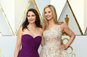 Actresses Ashley Judd and Mira Sorvino arrive for the 90th Annual Academy Awards on March 4, 2018, in Hollywood. (Credit: Valerie Macon/AFP/Getty Images)