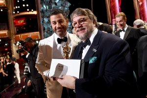 In this handout provided by A.M.P.A.S., Jimmy Kimmel and Guillermo del Toro are seen at the 90th Annual Academy Awards at the Dolby Theatre on March 4, 2018 in Hollywood. (Credit: Matt Petit/A.M.P.A.S via Getty Images)