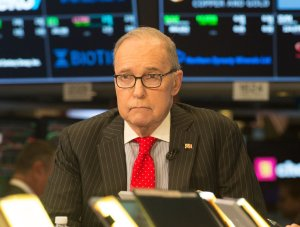 Conservative commentator and economic analyst Larry Kudlow speaks on the set of CNBC in New York on March 8, 2018. (Credit: Bryan R. Smith / AFP / Getty Images)