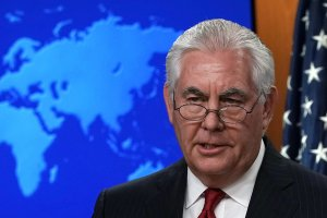 Outgoing U.S. Secretary of State Rex Tillerson makes a statement on his departure from the State Department on March 13, 2018. (Credit: Alex Wong/Getty Images)