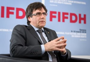 Carles Puigdemont sits during an interview at the International Film Festival and Forum of the Human Rights on March 18, 2018 in Geneva. (Credit: FABRICE COFFRINI/AFP/Getty Images)