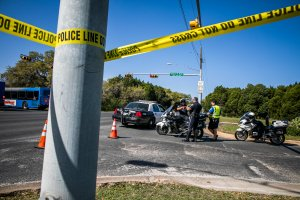 Police tape marks off the neighborhood where a package bomb went off on March 19, 2018 in Austin, Texas. (Credit: Drew Anthony Smith/Getty Images)