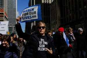 Sir Paul McCartney takes part in the March for Our Lives Rally near Central Park West in New York City on March 24, 2018. (Credit: EDUARDO MUNOZ ALVAREZ/AFP/Getty Images)