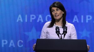 U.S. Ambassador to the United Nations Nikki Haley address the American Israel Public Affairs Committee's annual policy conference at the Washington Convention Center March 5, 2018, in Washington, D.C. (Credit: Chip Somodevilla/Getty Images)