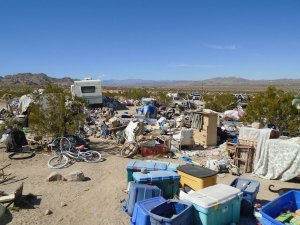 The property near Joshua Tree where two parents were arrested after their three children were found living in a box is seen in a photo released by the San Bernardino County Sheriff's Department on March 1, 2018.