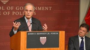 Harvard Professor Jorge I. Dominguez speaks at the John F. Kennedy Jr. Forum Institute of Politics on Sept. 25, 2013, in Boston, Mass. (Credit: Paul Marotta/Getty Images via CNN)