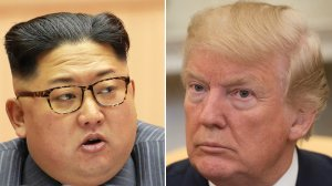 At left, North Korean leader Kim Jong-Un is seen during the Fifth Conference of the Workers' Party of Korea Cell Chairpersons in a photo from North Korea's official Korean Central News Agency, taken on Dec. 23, 2017 and released on Dec. 24, 2017. On the right, President Donald Trump speaks to the press in the Oval Office of the White House in Washington, D.C., on Feb. 9, 2018. (Credit: SAUL LOEB/AFP/Getty Images)