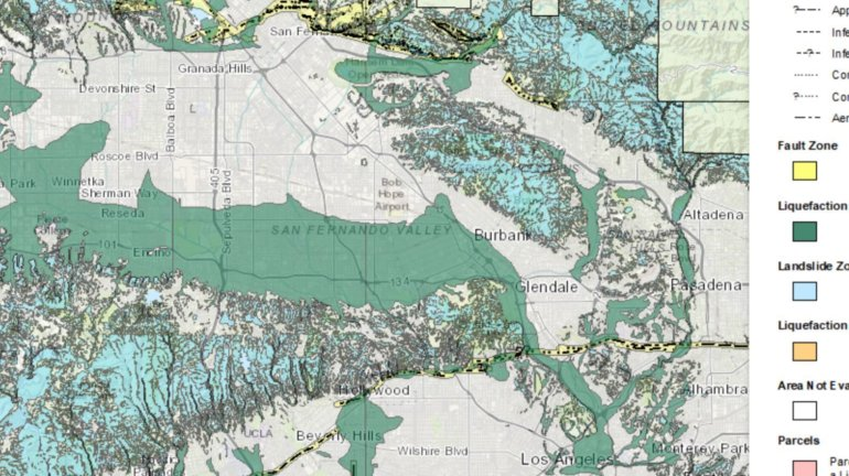 The southern half of the San Fernando Valley, which neighbors the Los Angeles River, is a large liquefaction zone, shown in green. Many mountainous and hilly areas, such as the Santa Monica Mountains, are at risk of earthquake-induced landslides, shown in aqua. (Credit: California Geological Survey)