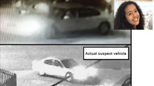 Los Angeles County Sheriff's Department officials released these photos of a vehicle believed to be involved in the fatal shooting of Danah Rojo-Rivas (insert) in November 2016.