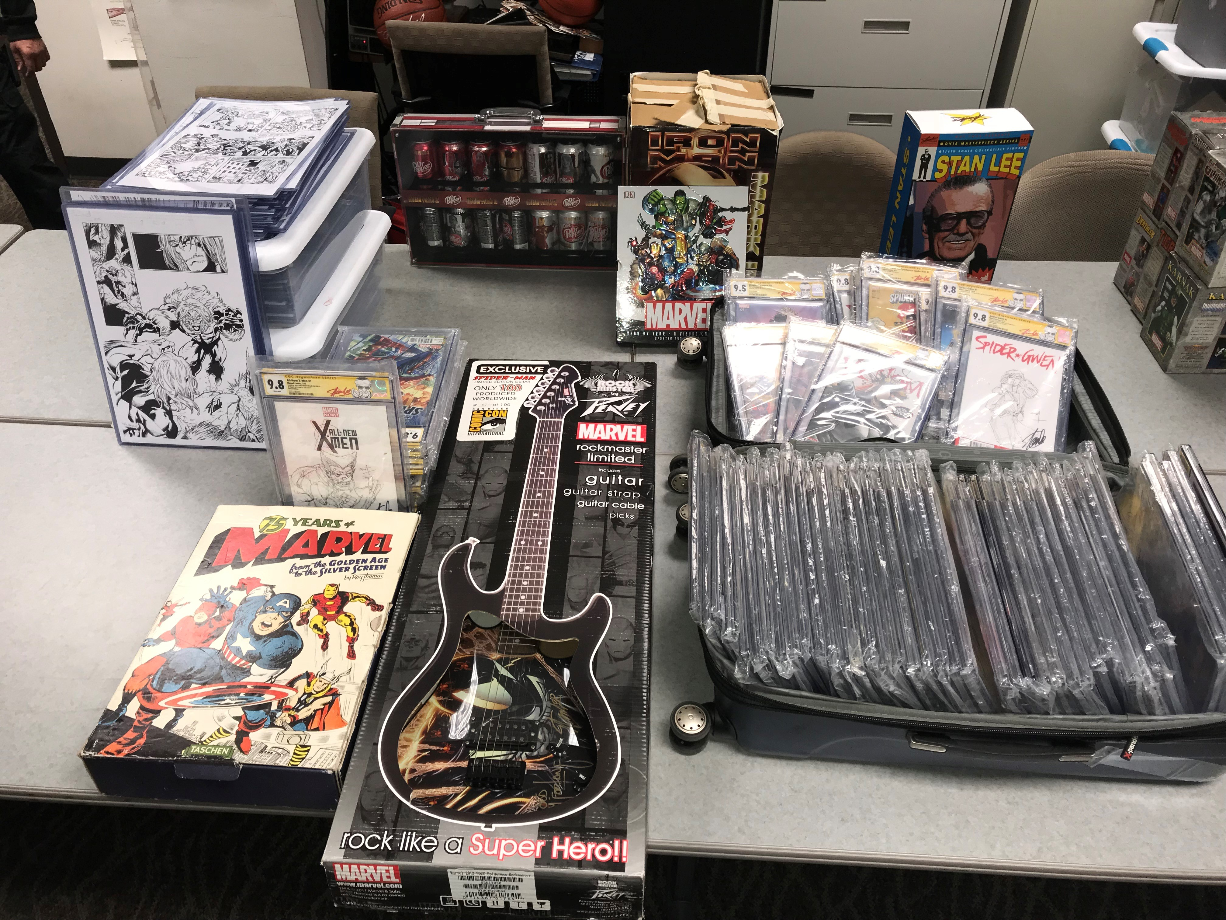 Marvel collectable items allegedly stolen from a storage unit are shown in a photo released by the Rancho Cucamonga Police Department on March 12, 2018.