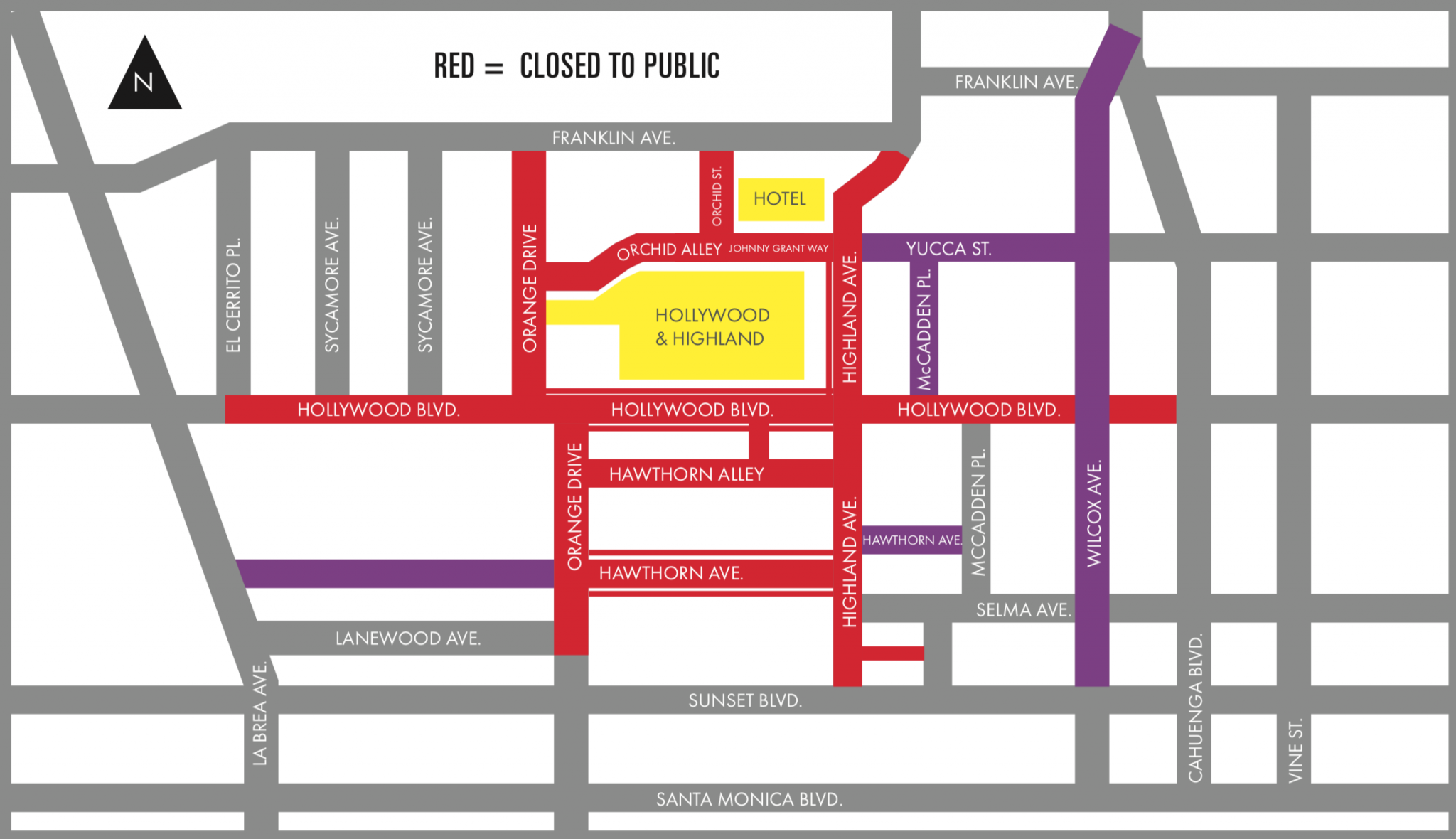 A map posted on L.A. County Metropolitan Transportation Authority's website shows street closures for the Academy Awards on March 4, 2018.