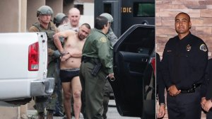 Isaias De Jesus Valencia, suspected of killing a Pomona police officer, is taken into custody following a lengthy standoff with police on March 10, 2018; and Officer Gregg Casillas is seen in an undated photo. (Credit: Ifran Kahn/Los Angeles Times, left; Pomona Police Department, right)