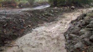 Rain runoff is seen in Carpinteria on March 2, 2018. (Credit: KTLA)
