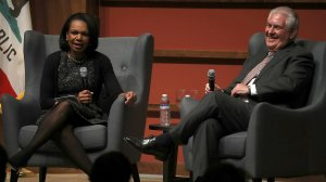 U.S. Secretary of State Rex Tillerson speaks in conversation with former U.S. Secretary of State Condoleezza Rice to the Hoover Institution and the Freeman Spogli Institute for International Studies at Stanford University on Jan. 17, 2018, in Stanford, Calif. (Credit: Justin Sullivan/Getty Images)