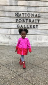 Parker Curry, 2, poses outside the National Portrait Galley in Washington D.C. on March 1, 2018. (Credit: Jessica Curry/CNN)