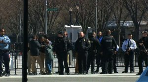 Police respond outside the White House where a man reportedly shot himself on March 3, 2018. (Credit: CNN)