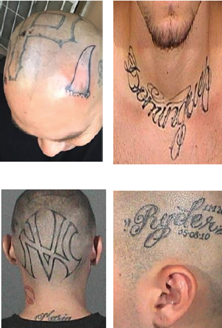 Closeups of Derek Dominguez's tattoos are shown in photos released by the Los Angeles Police Department on March 20, 2018.