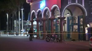 Police investigate at a Venice bar on March 8, 2018, the day after a man was shot there. (Credit: KTLA)