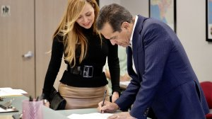 Former Los Angeles Mayor Antonio Villaraigosa, accompanied by his wife, Patty, files paperwork to officially place his name on the ballot as a candidate for governor at Los Angeles County Registrar-Recorder/County Clerk in this undated photo. (Credit: Irfan Khan / Los Angeles Times)