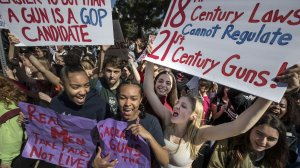 Students at the Los Angeles Center for Enriched Studies joined in a national student walkout in support of the Parkland, Fla., victims and survivors on March 14. (Credit: Brian van der Brug / Los Angeles Times)