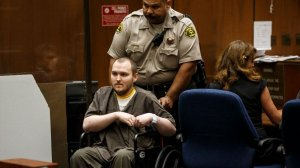 Harry Burkhart is seen sitting in a downtown Los Angeles courtroom after he was found guilty of arson, involving 47 fires across L.A., on Sept. 1, 2016. (Credit: Marcus Yam / Los Angeles Times)