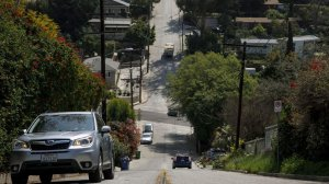 Baxter Street in Echo Park has seen increased traffic because of navigation apps. (Credit: Marcus Yam / Los Angeles Times)