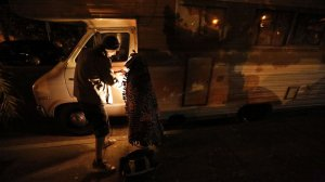 Safe parking programs give those without shelter a spot where they can spend the night in their vehicles. Thomas Goodwin and his daughter Leilani Miranda Duenez Goodwin, above, participate in a program in Santa Barbara. (Credit: Genaro Molina / Los Angeles Times)
