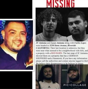 A missing persons flyer shows three men from Bakersfield who were last known to be traveling to Riverside.