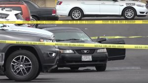The scene of a fatal police shooting in a Barstow Walmart parking lot is taped off on April 5, 2018. (Credit: Victor Valley News Group)