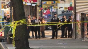 New York City police investigate after an unarmed man was shot in Brooklyn on April 4, 2018. (Credit: WPIX)